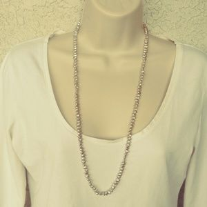 Vintage Light Gray Necklace Faux Pearls Tab Clasp